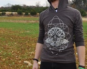 Rebirth - Screenprinted Unisex Macchiato Hooded Long-Sleeve Shirt by Eyes On Fire