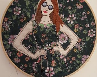 Wallflower Embroidery Hoop Art