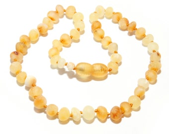 Genuine Raw Baltic Amber Teething Necklace for Baby Honey Butter Color Authentic Unpolished