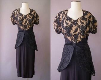 vintage 1940s dress / 40s black lace evening dress / medium / Illusion Web Dress