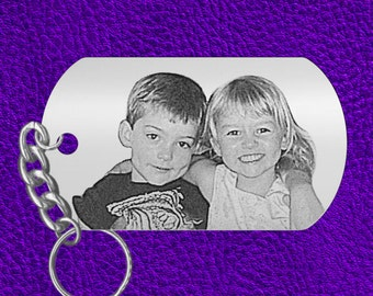 Fathers Day or Anytime Gift, Laser Engraved Photo Keychain, Kids Picture, PERFECT GIFT! for Dad or Grandpa