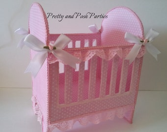 Pink and White Polka Dot Baby Crib Table Centerpiece