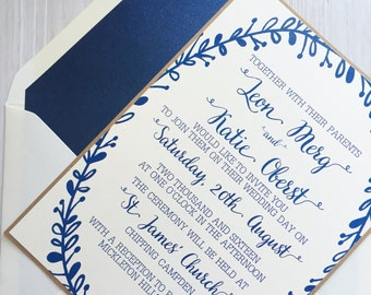 Rustic wedding invitation - navy and ivory