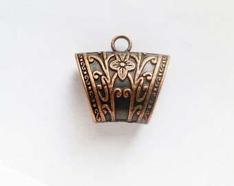 1 Antique Copper Scarf Bail with Flower Pattern Jewelry Supplies ACSBF39-1D5