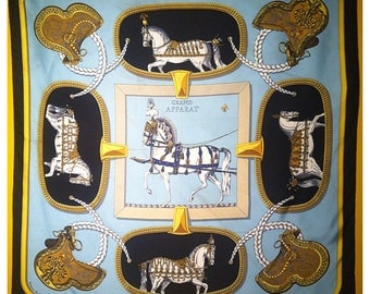 Vintage Hermes silk scarf with horses