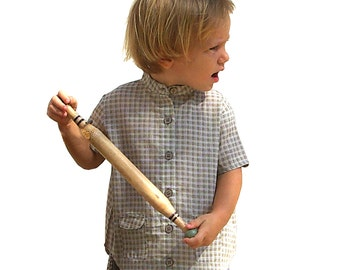 Boy's summer shirt, short sleeves, mandarin collar, beige checkered print, boys