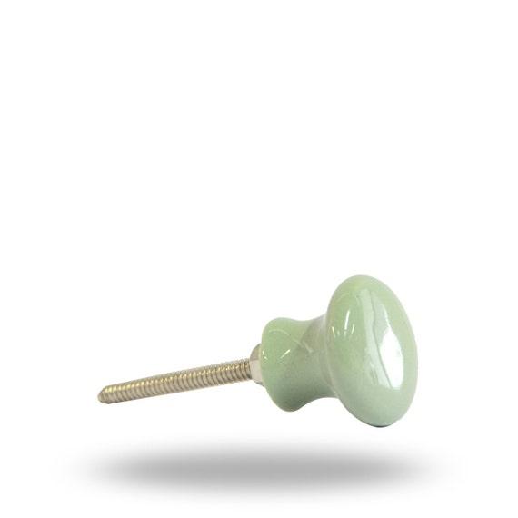 Decorative ceramic door knob in mint green pastel unique for Bedroom bureau knobs