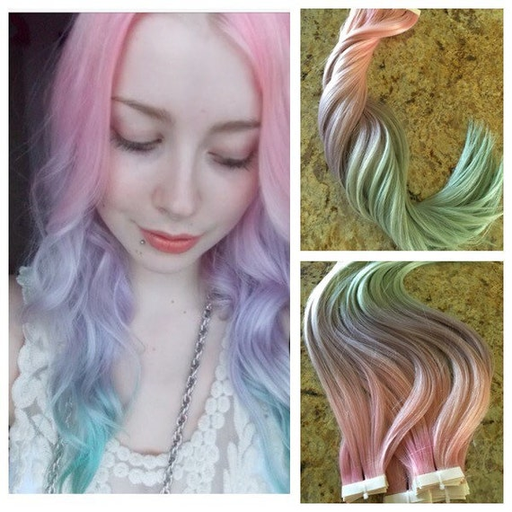Ombr european remy hair extensions 40pcs dyed cotton candy like this item pmusecretfo Images