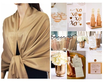 Camel gold pashmina scarf shawl / personalized initial shawl / bridesmaid shawl / wedding favor / spring summer wedding /