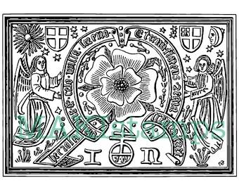 Renaissance rubber art stamp / Tudor rose rubber stamp -  unmounted rubber stamp or cling stamp (160717)