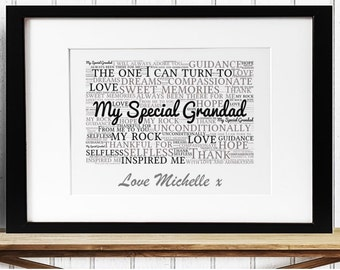Personalised Grandfather Framed Word Art - My Special Grandad
