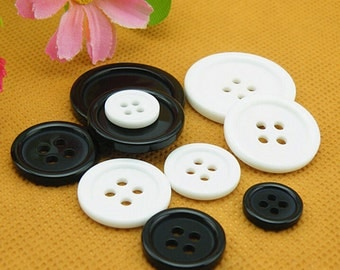 100 Resin Sewing shirt Clothing Buttons 4-holes white black 9mm 10mm 11.5mm 12.5mm 15mm 18mm 20mm 21mm 23mm 25mm 28mm 30mm 34mm 38mm