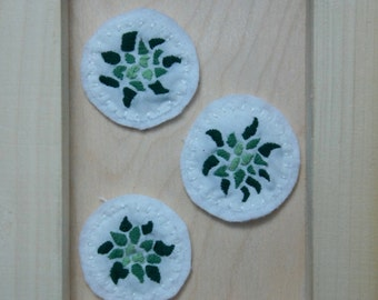 Hand embroidered succulent patch (white)