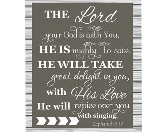 Bible verse canvas, scripture art, inspirational quote canvas, The Lord your God is with you...