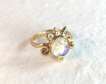 Solid Gold Moonstone Ring- 14K Yellow Gold Zora Statement Ring- Rose Cut Moonstone and Diamond Ring