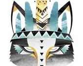 A4,  A3, 8x10 , 11x14 Aqua Boho Wolf . Watercolour / Digital print