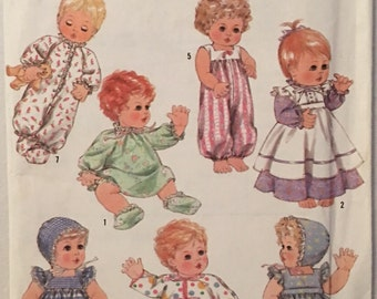 Simplicity Pattern 9144 Wardrobe for Baby Dolls in Three Sizes  UNCUT