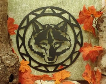 Wolf Face Contemporary Circle Wall Hanging
