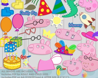 Pinky Pig Party Photo Booth Props-2, Family Party Photo Props
