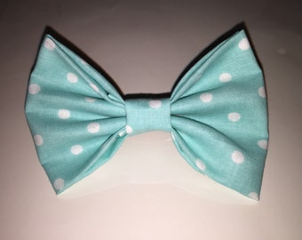 Sky Blue Polka Dotted Hair Bow