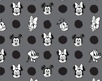 Disney Fabric Mickey, Minnie, Daisy, Donald Character Jumbo Dots in Zinc Fabric From Camelot