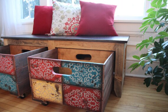 Indian crate storage bench/||