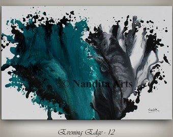 """Wall Art Painting, 36"""" abstract painting, wall hanging, Gray Home Decor, turquoise modern art, acrylic painting, Decorative Arts, Canvas art"""