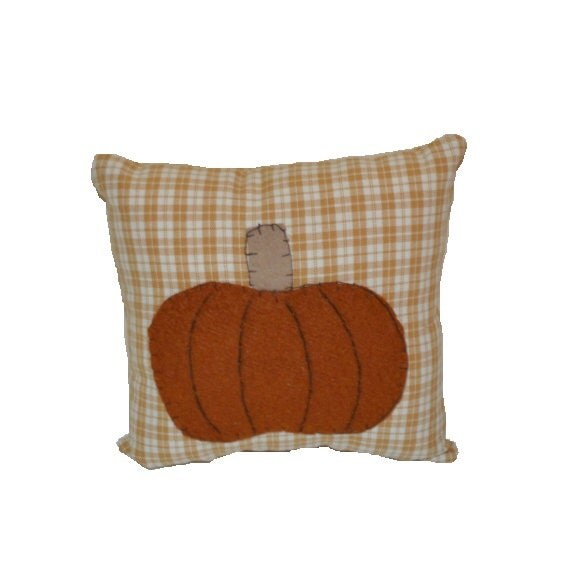Decorative Primitive Pillows : Primitive Pumpkin Pillow Fall Decor Shelf Sitter by SuesAkornShop