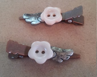 Angel Wings Button Barrettes