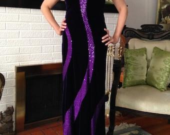 1980s Purple Velvet and Sequin Gown