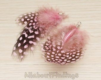 F006-PINK // Pink Colored Fluffy Top Polka Dot Feather Pendant, 2 Pc