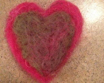 Needle Felted Red and Green Heart Pin