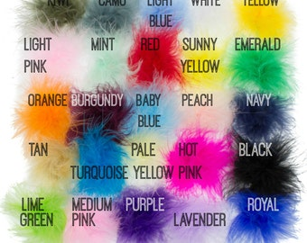 Marabou Feathers - Marabou Feather Puffs - Marabou Feathers Bulk - You Choose Colors - Set of 2 - Feather Puff - Marabou Feather BOA