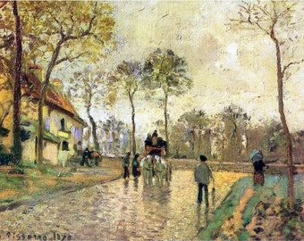 11x14 art print-Pissarro Camille-Stagecoach to Louveciennes