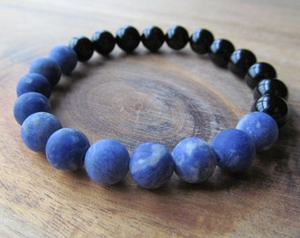 Matte Sodalite and Black Onyx Bracelet, Gemstone Bracelet, Stacking Bracelet, Layering Bracelet, Beaded Bracelet, Gift for Men, Gift for Him