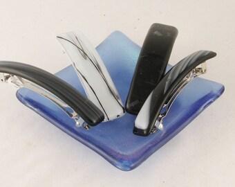"""Black glass barrette - fused glass barrette - 3 to 4"""" French barrette - (3891-3892-4535-4536)"""