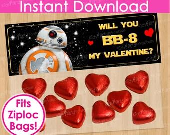 BB8 Valentine Bag Topper, INSTANT DOWNLOAD Printable Star Wars Valentine Treat Bag Topper, BB-8 Boy Valentine Valentine's Kid Kids Download