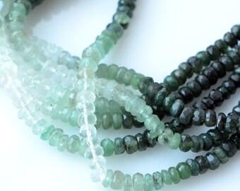 Emerald Rondelles 2.5mm to 3.2mm, Quarter or Half Strand, Shaded Natural Emeralds Rondelles, Ombre Emeralds, No Treatment Mint Green CB