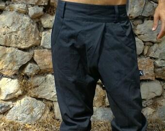 Cropped ethnic men's, comfortable, cotton black