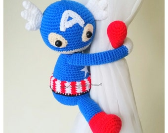 1 Captain America crochet curtain tie- back, Captain America curtain tie back. nursery crochet.  MADE TO ORDER***