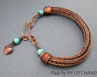 Copper Viking knit wire bracelet Turquoise bracelet Copper Wire wrapped bracelet woven copper wire Bangle bracelet Turquoise jewelry