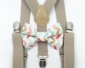 FREE DOMESTIC SHIPPING! Tan suspenders + Matching Bow Tie kid boys boy teens adult gold family photos photo prop holiday picture