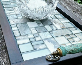 """Ottoman Serving Tray-Soft Teal and Grey Glass Mosaic Tile-Turquoise Wooden Handles-Dark Brown Barn Wood Finish-Rustic Contemporary-27""""x15"""""""