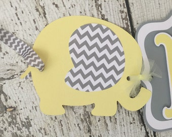 Chevron Yellow and Gray Elephant Baby Banner, Elephant Baby Shower Banners, Decorations