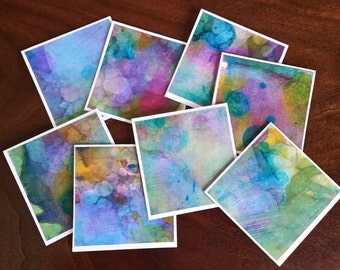 "Mini Alcohol Ink Note Cards; Original Art Cards; set of 8; 3"" x 3"" Blank Cards; Gift Cards"