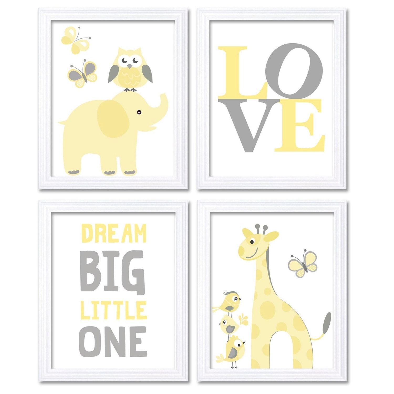 Yellow Grey Elephant Giraffe Owl Nursery Art Dream Big Little One LOVE Set of 4 Prints Child Art Kid