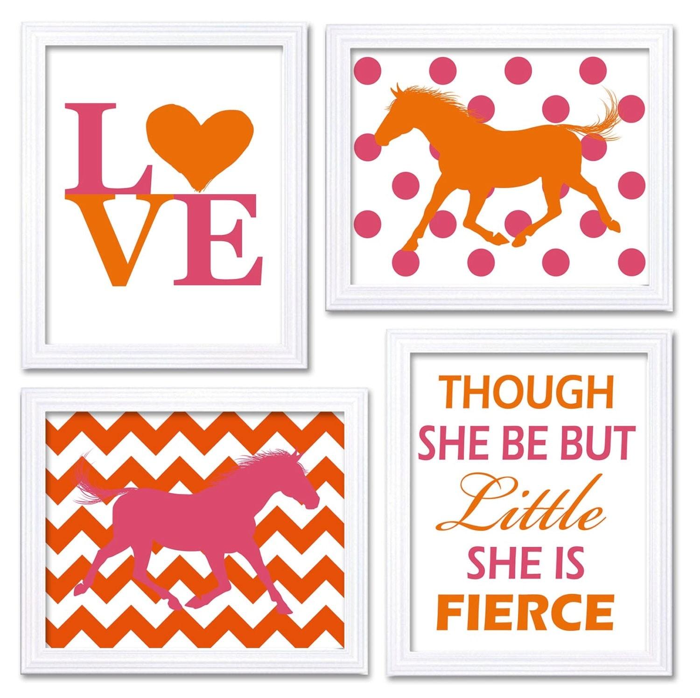 Horse Nursery Art Hot Pink Orange Prints Set of 4 LOVE Though She be but Little She is Fierce Chevro