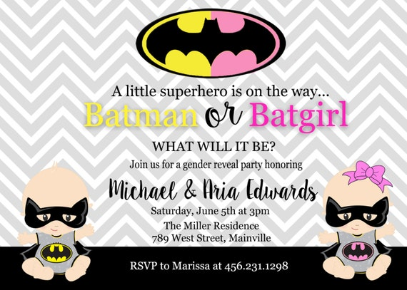 batman batgirl baby shower gender reveal invitation party boy or