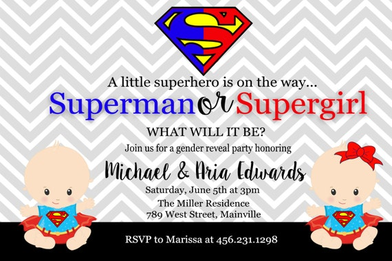 superman supergirl superhero baby shower gender reveal invitation