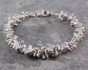 Silver Bracelet, Chunky Silver Bracelet, Silver Coral Bracelet, Statement Bracelet, Sterling Silver Designer Bracelet, Otis Jaxon Jewelry
